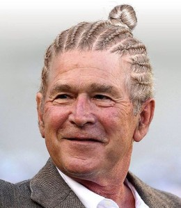 a-funny-photograph-of-george-w-bush-with-his-long-hair-styled-as-cornrows